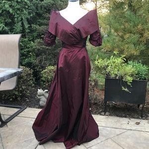 Burgundy Cinderella Taffeta Short Sleeve Gown